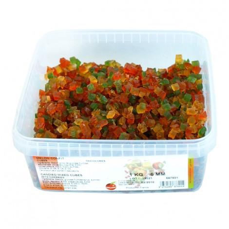 Cubes de melon confit tricolore