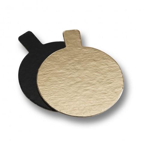Rond languette Or/noir 8 cm