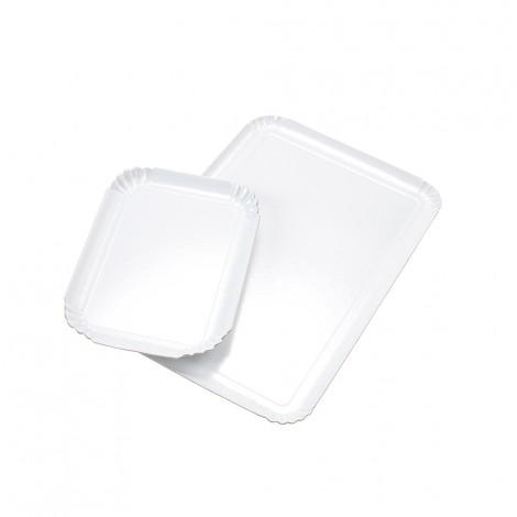 Plateaux traiteurs simple face blans perle 28 x 42